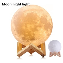 LED Night Light Moon Lamp 8CM/12CM 3D Print Creative Star Battery Powered With Stand Gentle lighting