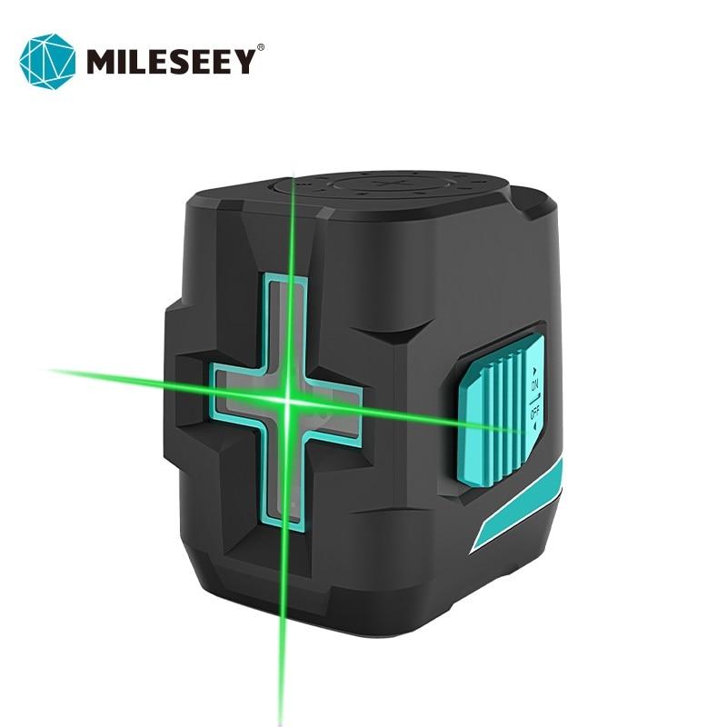 Mileseey 2 مستوى خط الليزر الأخضر مستوى الليزر الذاتي التسوية مستوى الليزر الأفقي والرأسي عبر آلة الليزر أداة