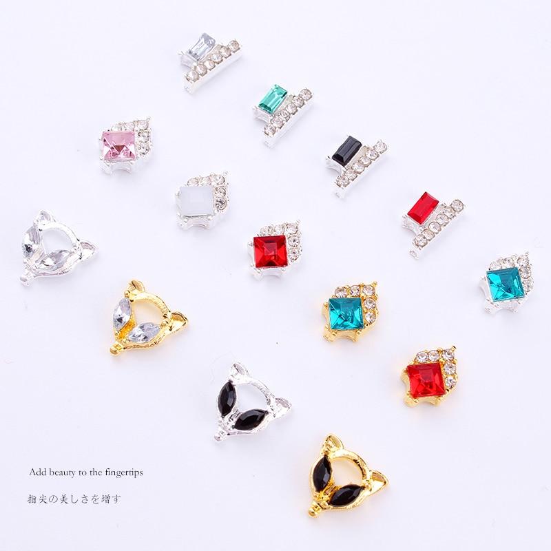 100pcs Nail Charms Studs Nails 3d Jewelry Fancy Crystal Drop / Gold/Silver diamond Nail art Decoration luxury nails rhinestone