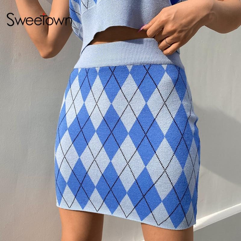 Sweetown estilo preppy argyle xadrez saias de malha mulher cintura alta casual 90s mini saia senhora na moda 2020 bonito kawaii malhas