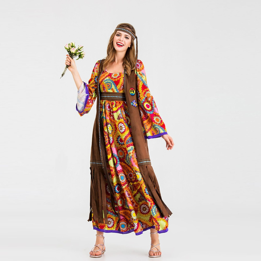 Disfraz moderno de princesa para mujer, disfraz de Carnaval Hippie para mujer adulta, disfraz de fiesta elegante