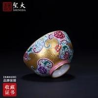 hand painted ceramic kung fu tea colored enamel heap gold flower grain cup all hand of jingdezhen tea service master
