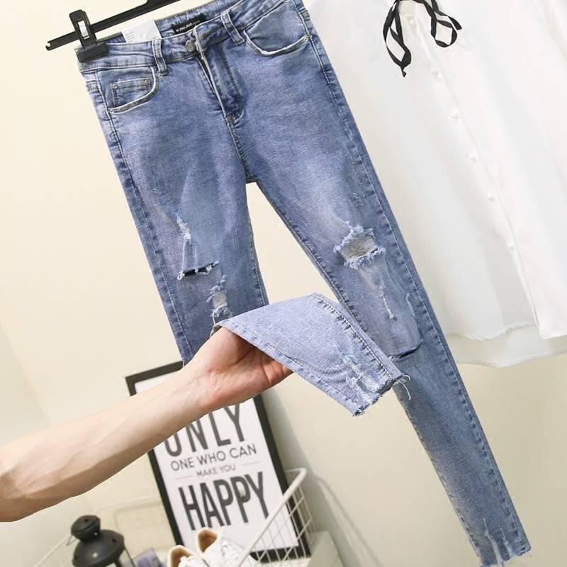 Fa303 2019 new autumn winter women fashion casual  Denim Pants high waist jeans womens clothing