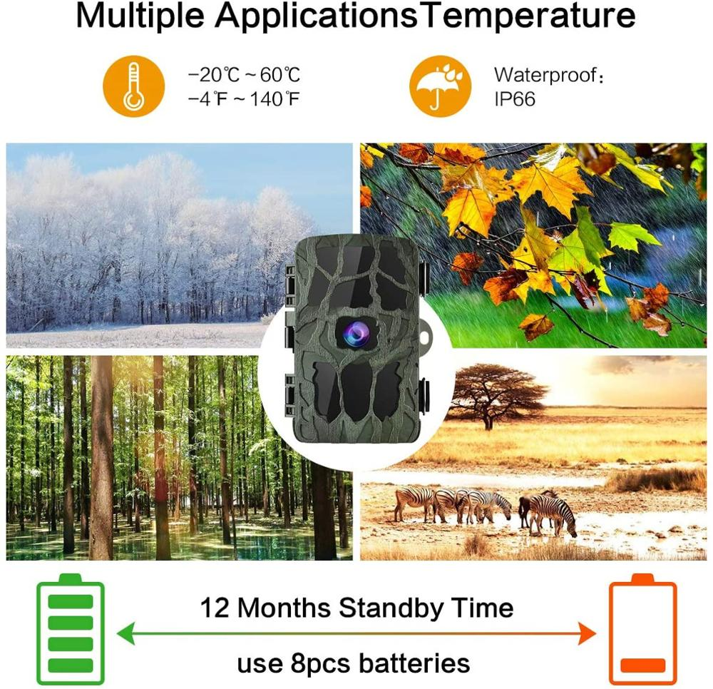 4K Hunting Camera Trap 20MP Infrared Hunt Night Vision Support 256GB Wildlife Photo-trap Hunting Trail Photo Camera Foto enlarge