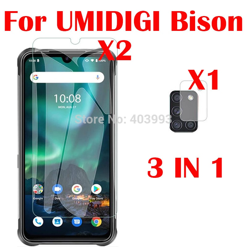 3-in-1 Glass For UMIDIGI Bison 6.3inch Screen Protector Glass Full Protection on For UMIDIGI Bison C