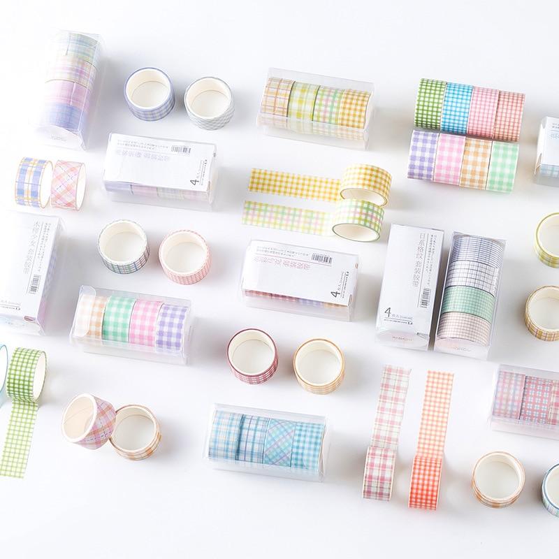 4pcs Fresh And Elegant Color Series Grid Washi Tape Set Scrapbook Decorative Materials DIY Stationery