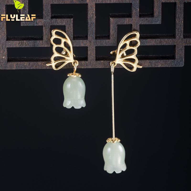 Pendientes de plata de ley 925 con diseño de mariposa de oro y campana de Jade y asimetría para mujer estilo chino Vintage joyería de lujo Flyleaf