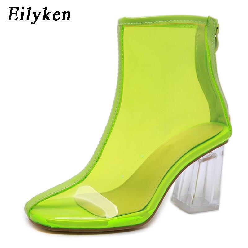 Eilyken Sexy PVC botas transparentes zapatos de punta redonda transparente grueso tacones Mujer botas sandalias cremallera 2020 nuevo otoño