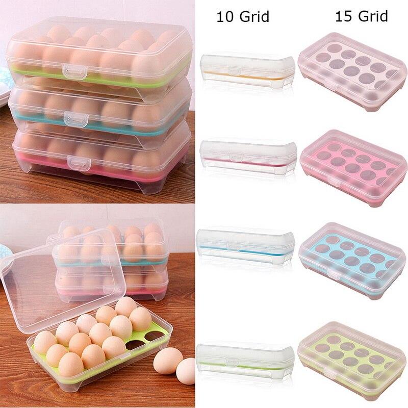 Bandeja de plástico para huevos LOOZYKIT, contenedor organizador con tapa para nevera, 1 Uds.