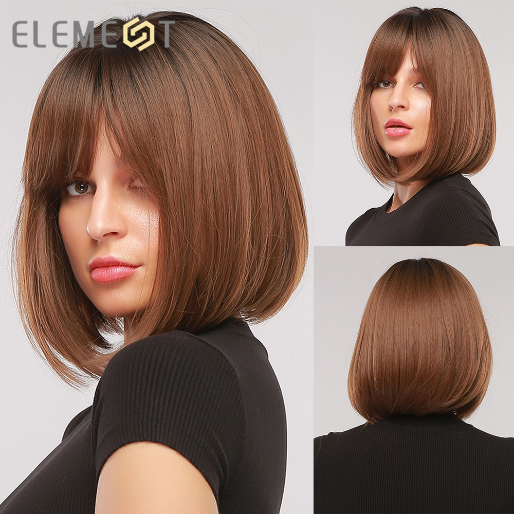 Element Medium Brown Straight Bob Ombre Wigs With Bangs for Women Ladies Synthetic Cosplay Party Daily Fake Hair Heat Resistant