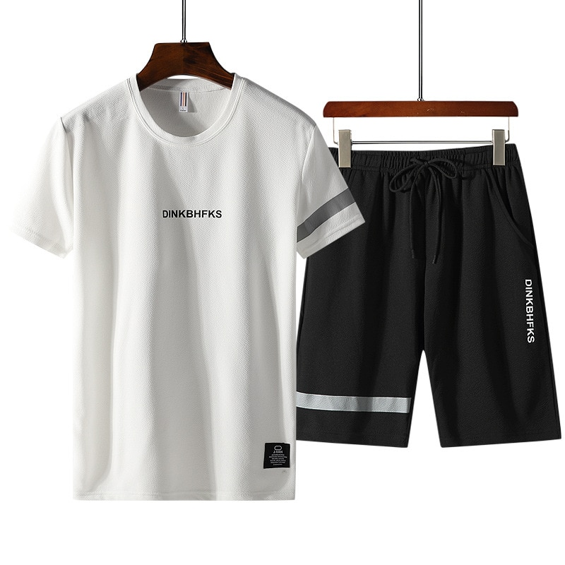 Men Casual T Shirt Short Set Two Piece Set Tracksuit Summer Clothes Sportswear Track Clothing Male Sweatsuit Sport Suits Husband