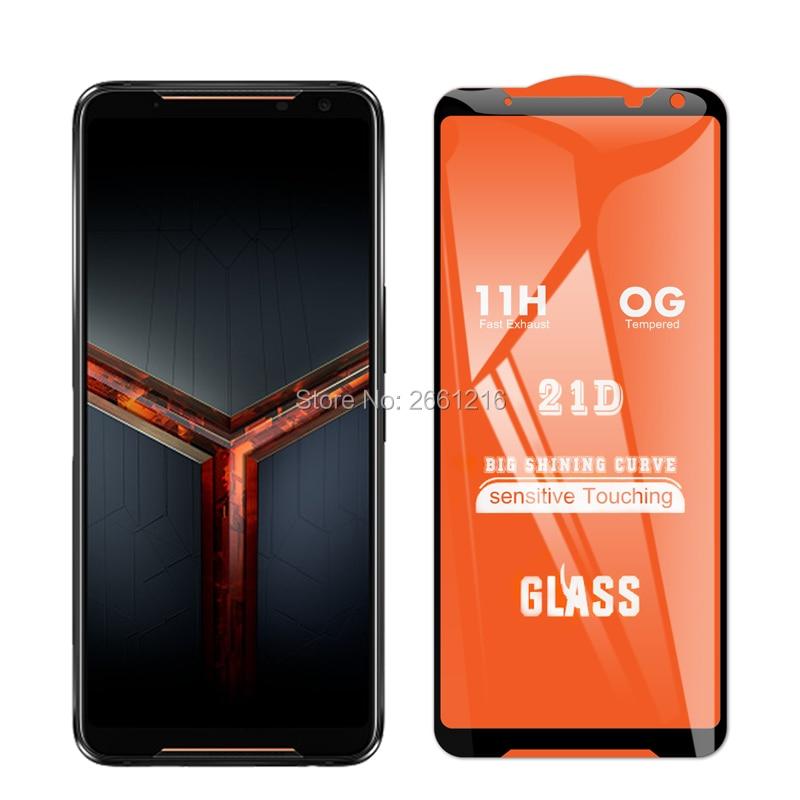 """Cobertura completa de vidro temperado 9 h premium, para asus rog phone 2 ii zs660kl 6.59 """"21d 9d, película protetora de tela"""