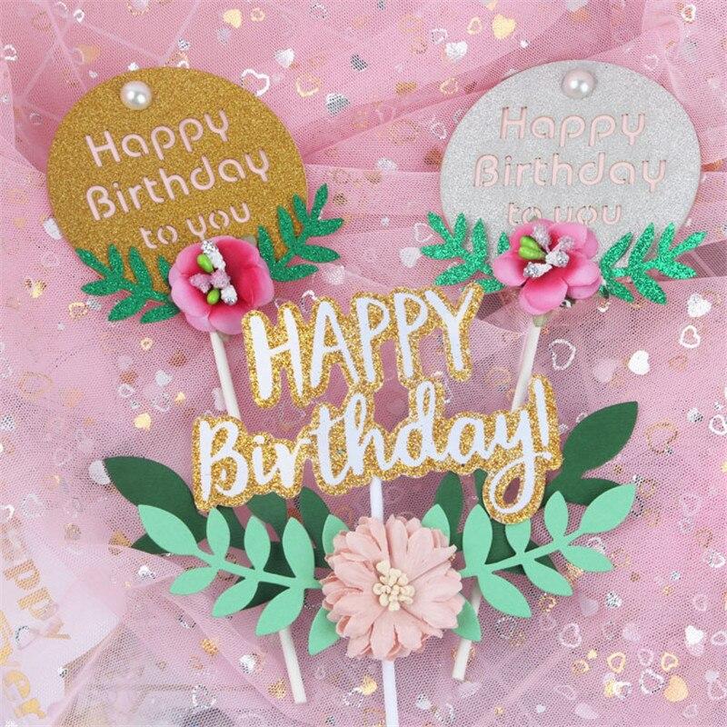 Cakelove 1 Uds Flor de hoja verde topper para tarta de feliz cumpleaños insertar Bandera de cumpleaños mujer decoración para hornear bebé Cupcake para la ducha