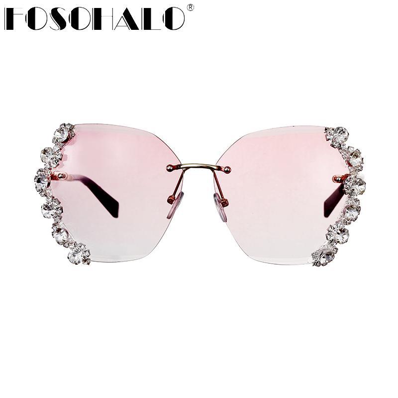 Gafas de sol sin montura de diamante brillante para mujer, gafas de sol de marca de diseñador para hombre, gafas de sol para mujer, gafas de sol con diamantes de imitación