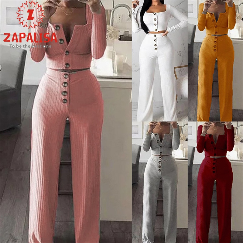 Zapalisa Knit Button Decor Streetwear Women Two Piece Outfits Long Sleeve Single Breasted Crop Tops+High Elastic Waist Pants