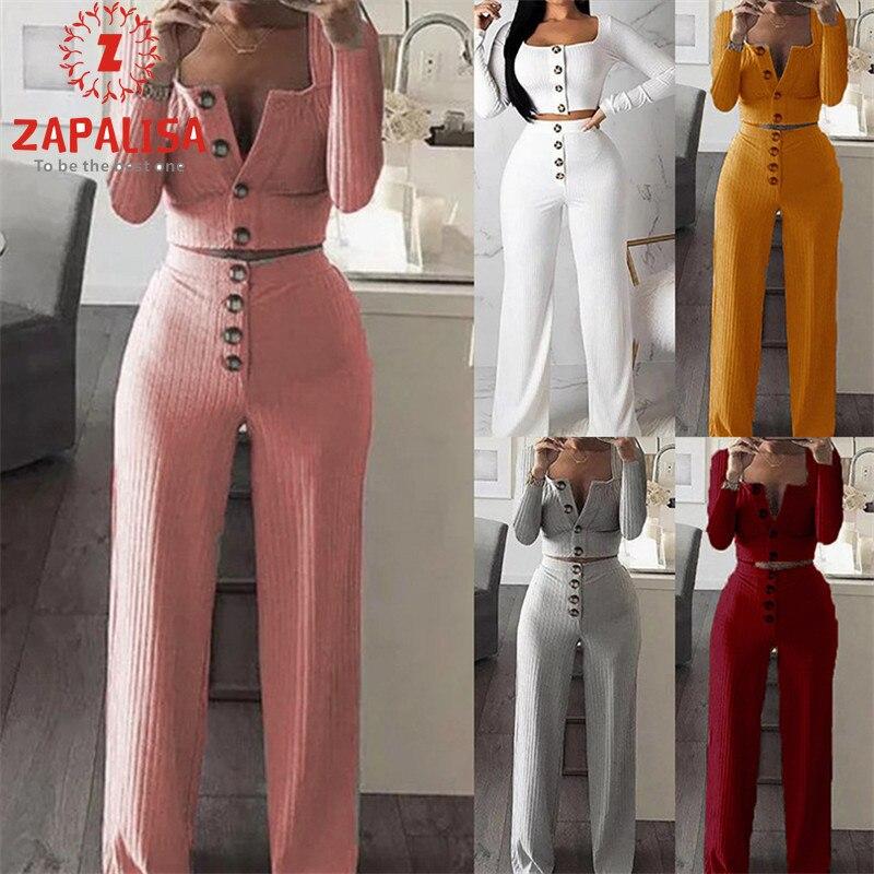 Женский трикотажный костюм Zapalisa, уличная одежда из двух предметов, однобортный укороченный топ с длинным рукавом и брюки с высокой эластичн...
