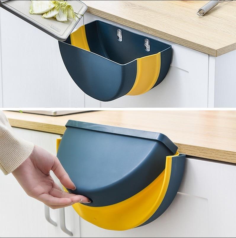 Caixa de lixo cesta de papel pode recipiente de lixo porta do armário pendurado lixo bin cozinha armazenamento suportes de plástico cremalheiras ferramenta