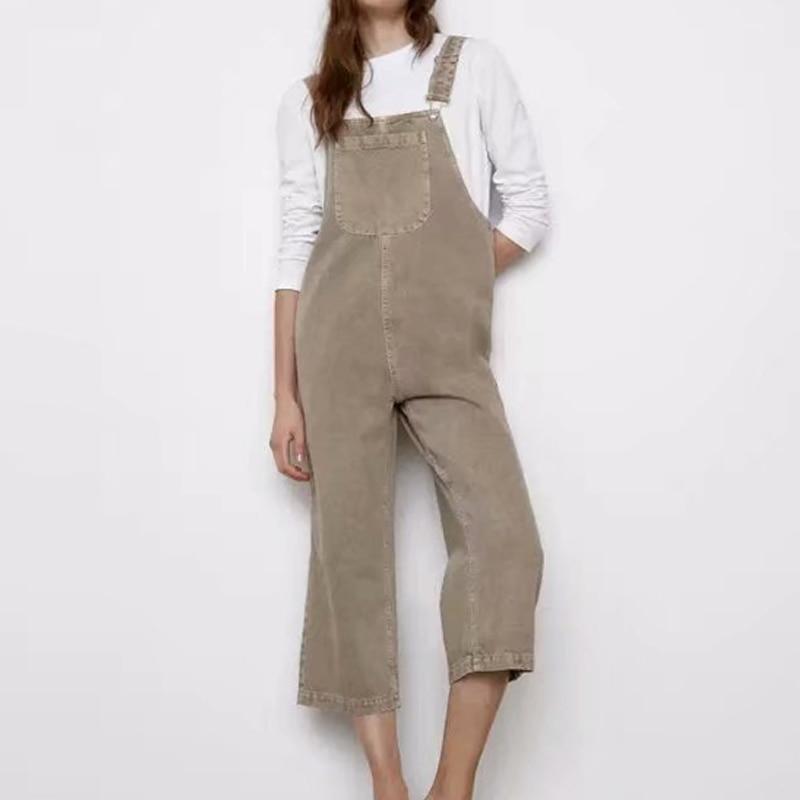 دنغري نسائي صيفي من الدنيم ، دنغري بدون أكمام ، جيوب حزام ، بنطلون فضفاض بطول الكاحل ، ملابس غير رسمية