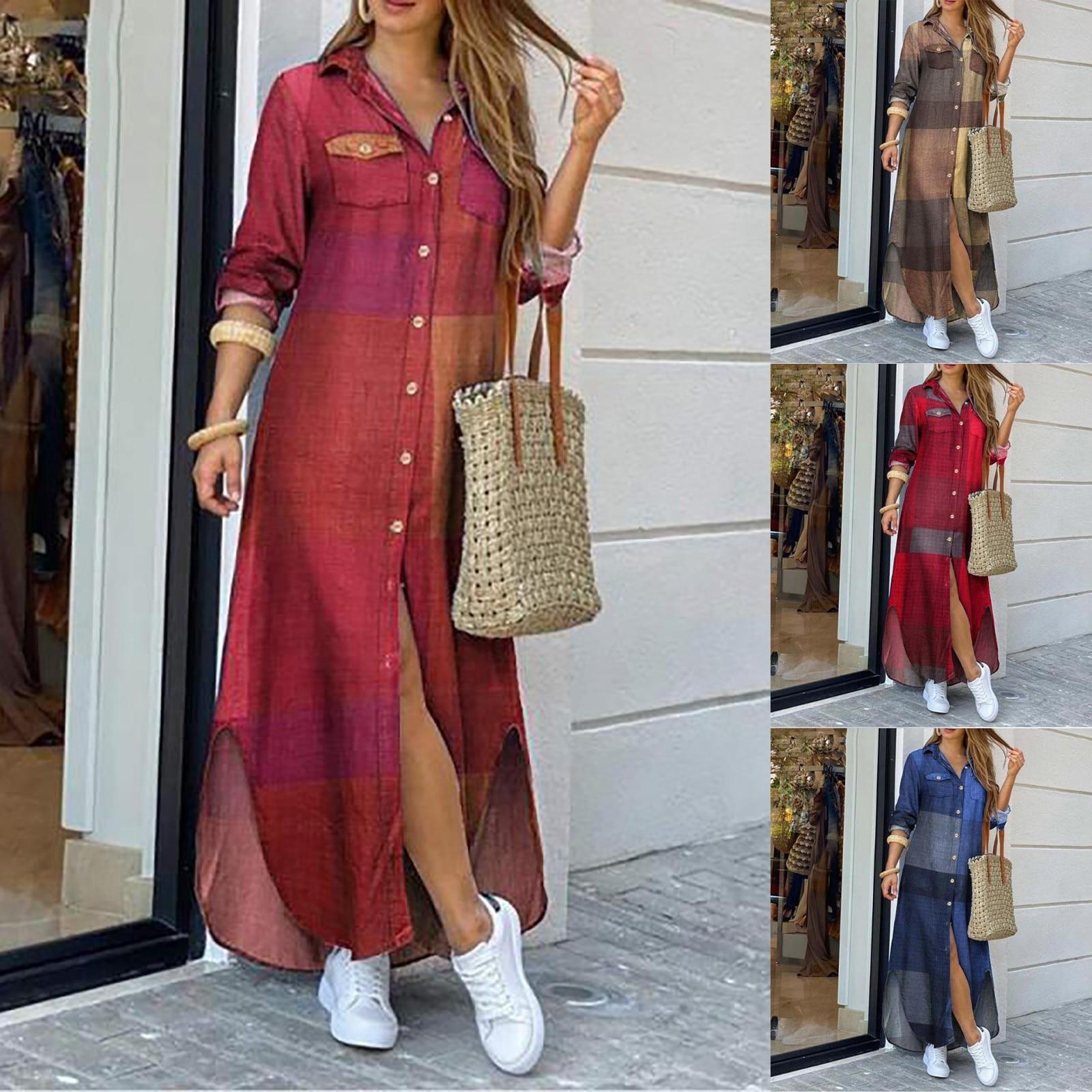 Vestidos de moda para mujer, vestido bohemio informal holgado de manga larga...