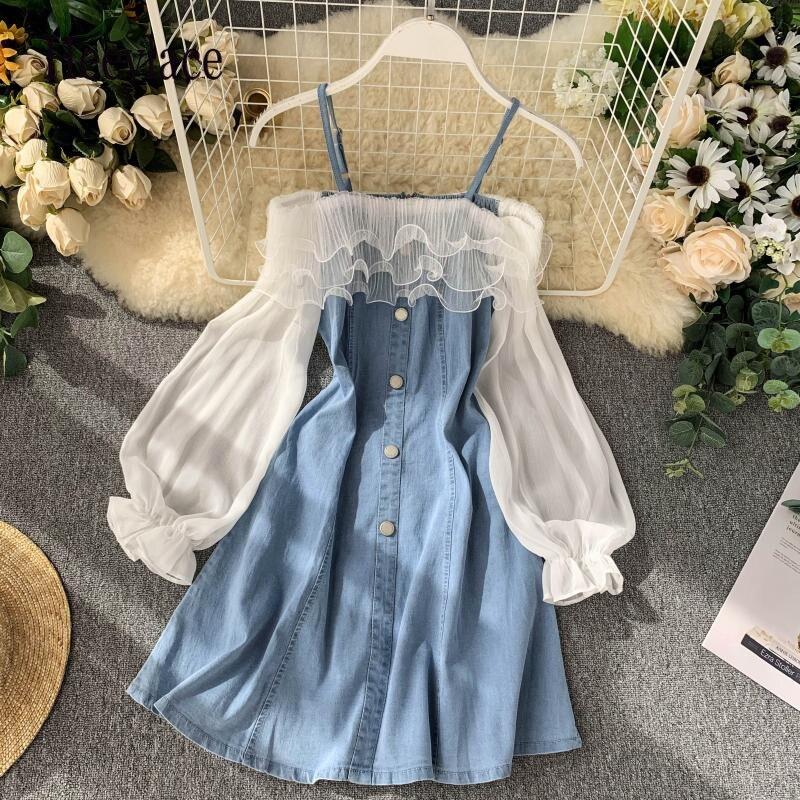 2020 sukienki damskie jurk mulheres fora do ombro vestido para mulheres denim e malha retalhos curto babados vestidos robe ete femme
