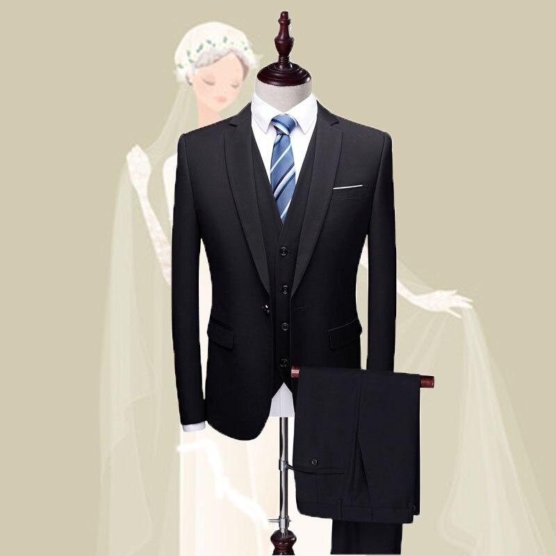 (Jacket pants vest ) Mens Suits Wedding Groom Plus Size 5XL 6XL 3 Pieces Slim Fit Casual Tuxedo Suit Male