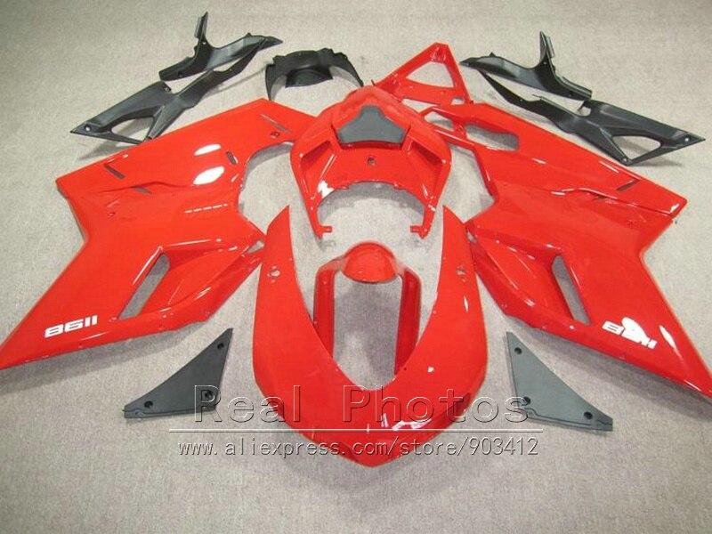 Top vendendo kit carenagem para a Ducati 848 1098 1198 07 08 09 10 11 vermelho carenagens pretas definir 848s 1098s 2007-2011 YY36
