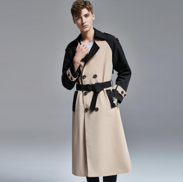 Mens trench abrigo colores en contraste, para hombre abrigo de los hombres ropa suelta solapas abrigo de manga larga 2020 nuevo diseño