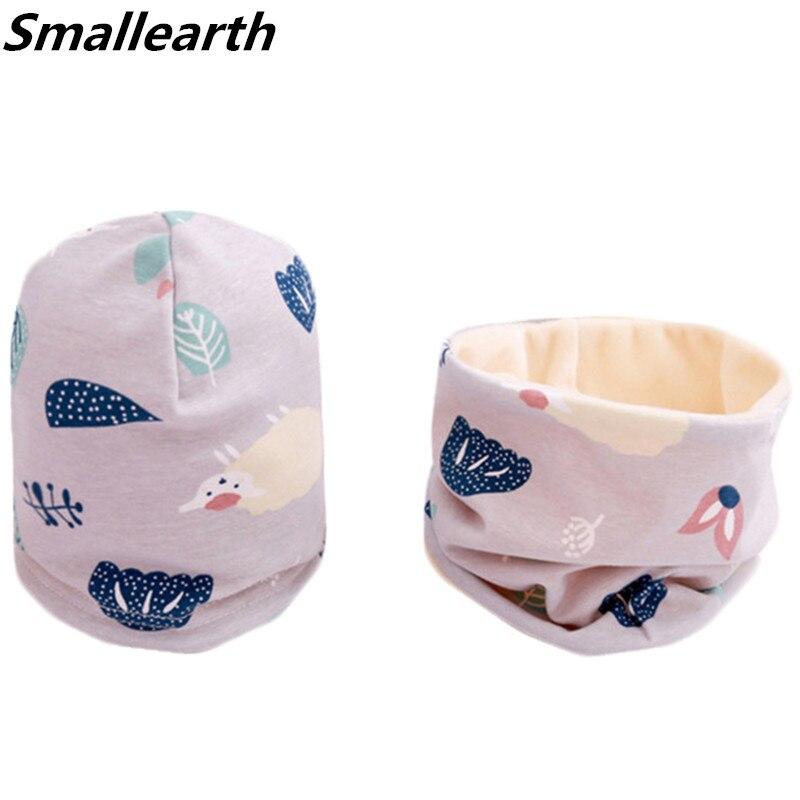 New Autumn Winter Cotton Baby Hat Sets Crochet Children Scarf Set Cartoon Girls Fashion Boys Child Cap