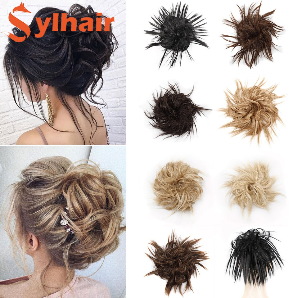 Synthetic Tousled Hair Bun Chignon Hair Elastic Band Messy Bun Hairpiece Short Ponytail Hair Extension For Women Sylhair