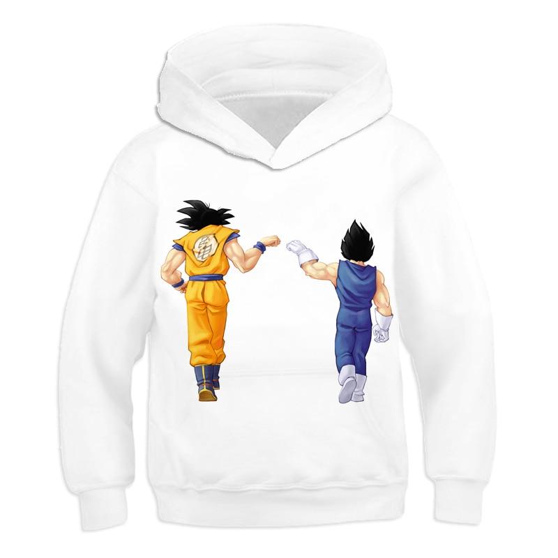 Anime Dragon Ball Z Goku white Hooded Sweatshirts 3D Printed Hoodies Teens clothes Long Sleeve Outerwear Boys Girls Pullovers