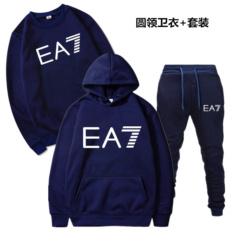 2021 Mens Sweatshirt Set Spring and Autumn Style Letter Print 3-piece Three-piece Pure Color Full Spo