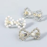 2021 new fashion korean alloy rhinestone imitation pearl bow hairpin for women retro party shiny decoration accessories