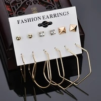 6 pairsset mix design square stud earrings for women earrings irregular metal stud earrings set punk earrings fashion jewelry