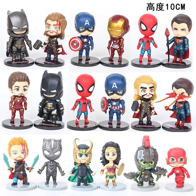 Marvel Avengers zestaw figurek Superman Iron Man Loki Thor Flash 6 sztuk kolekcjonerska figurka Anime zabawki dla dzieci prezent urodzinowy