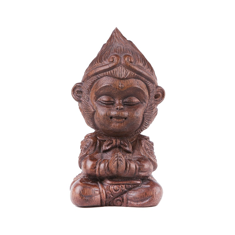 olid wood carving Buddha statue Qitian Dasheng Sun Wukong Guanyin  blessing in the center console car ornaments