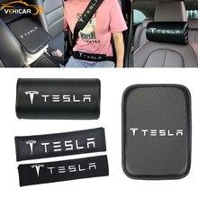 VEHICAR Car Seat Headrest Auto Seat Belt Cover Pad Armrest Cushion Pads Carbon Fiber For Tesla Auto