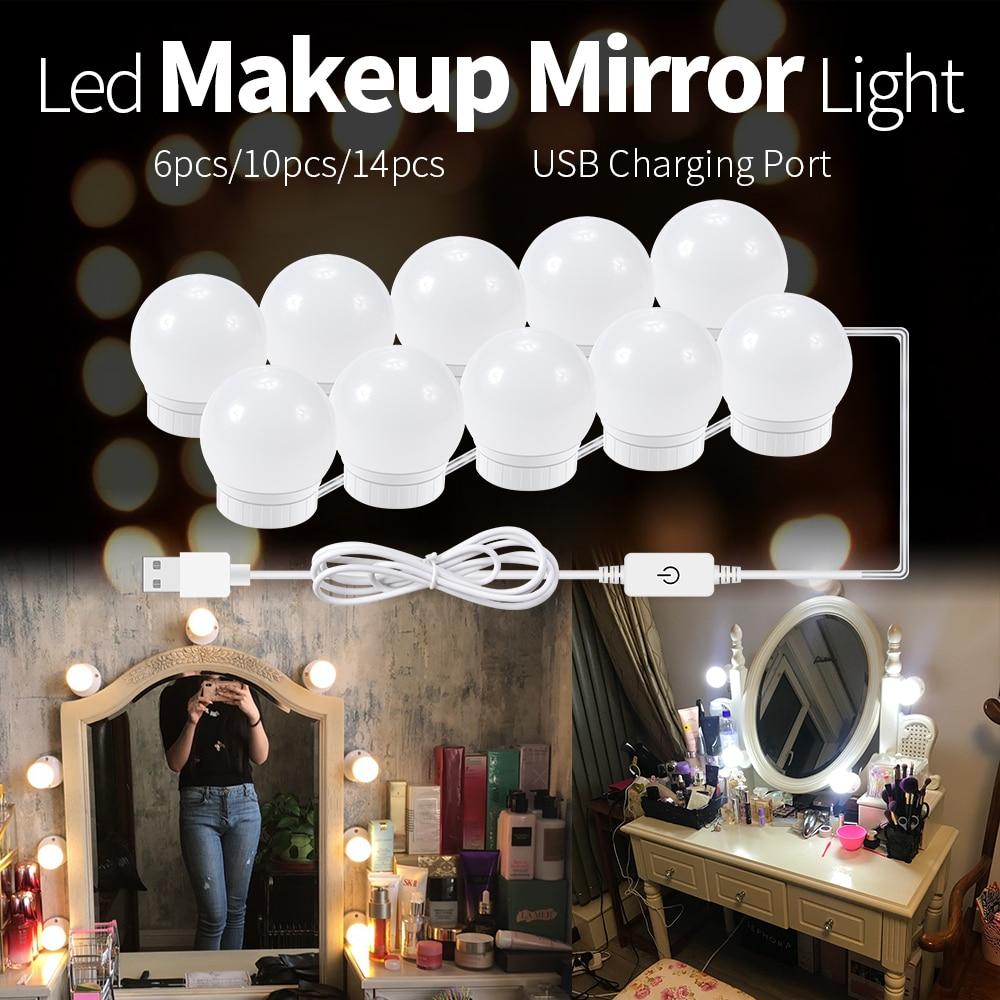 LED Makeup Mirror Light Bulbs USB Hollywood Make up Lamp Vanity Lights Bathroom Dressing Table Light