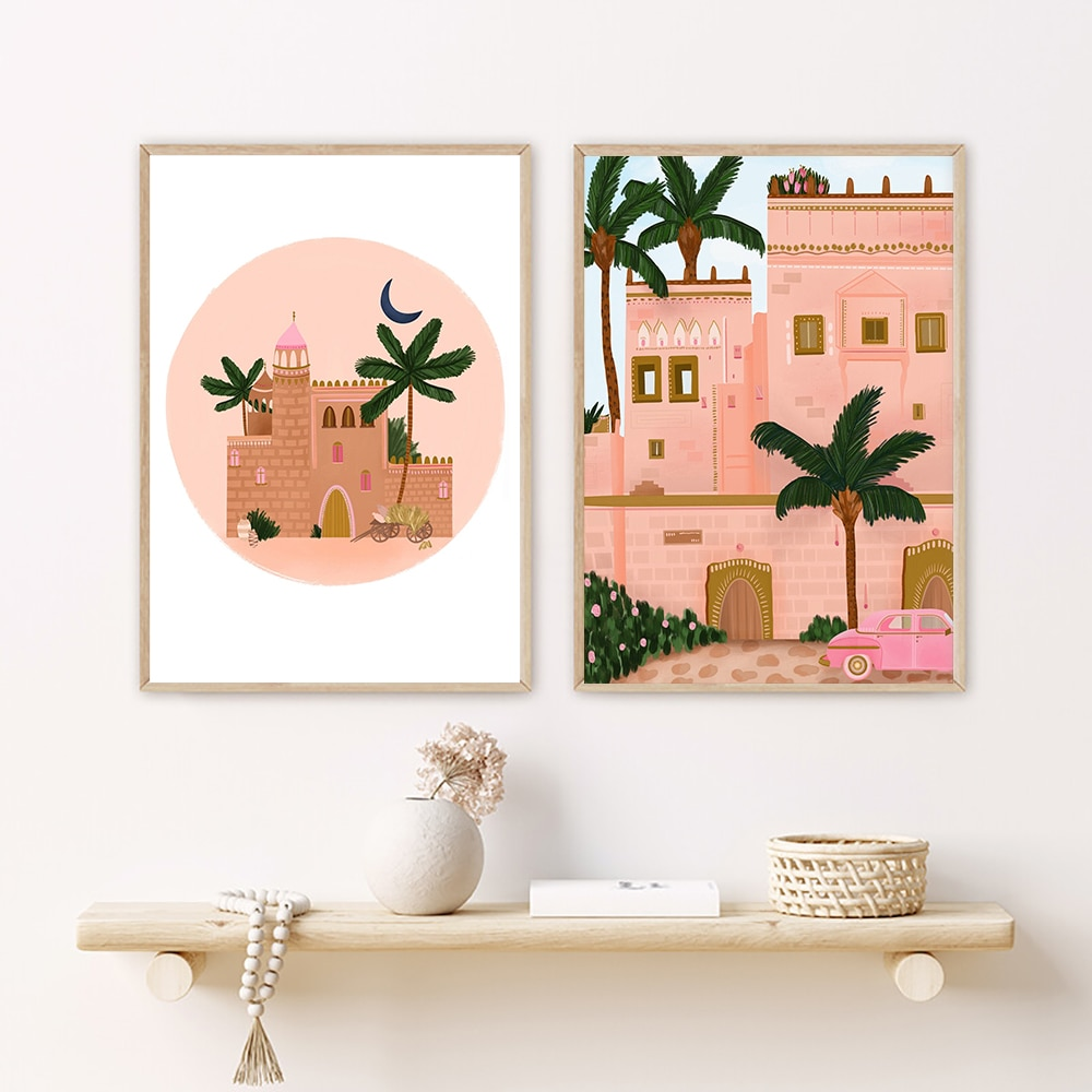 Vintage Simplicity Scenery Coconut Trees Wall Art Canvas Painting Nordic Poster Pictures For Living Room Decor Unframed