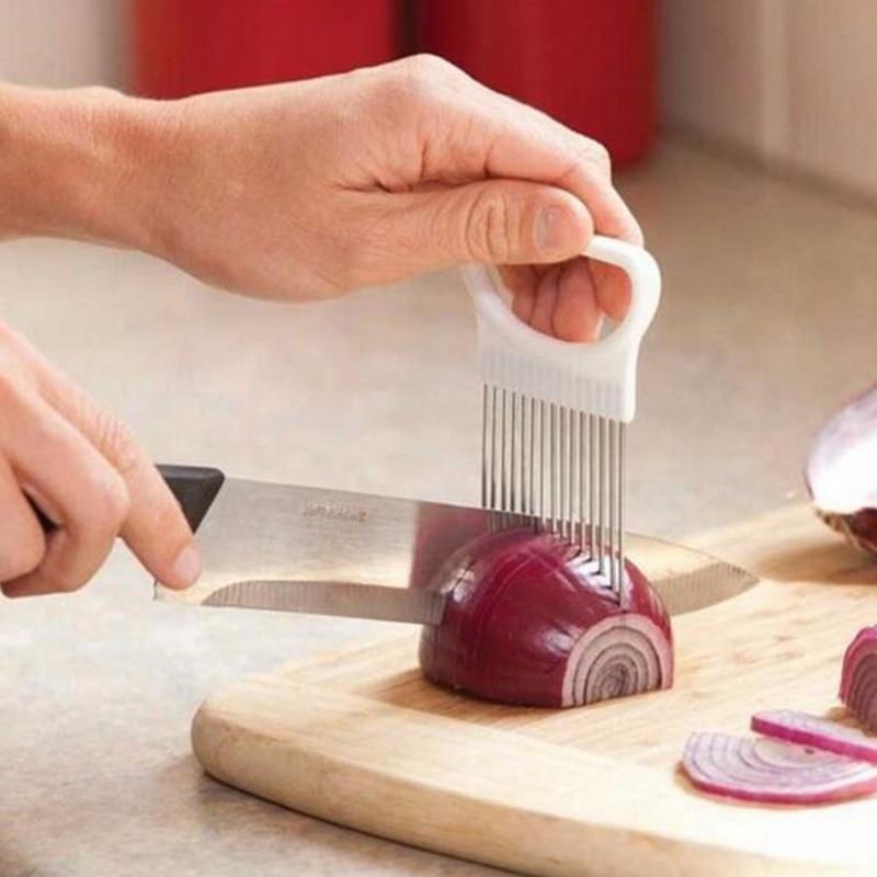 1 шт. резак для лука из нержавеющей стали вилка для лука резак для фруктов и овощей резак для томатов нож для резки держатель для помощи кухон...