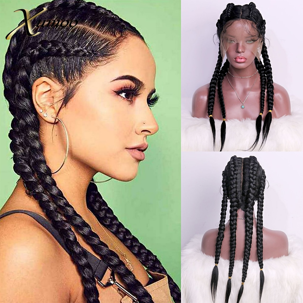 Xumoo Black Braid Hair Wig Synthetic Lace Front Wig Wholesale Four Long Box Braided 360 Lace Wigs For Daily Black Women