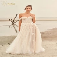 vintage beach wedding dress boho a line sweetheart neck off the shoulder sleeveless floor backless applique vestidos de novia