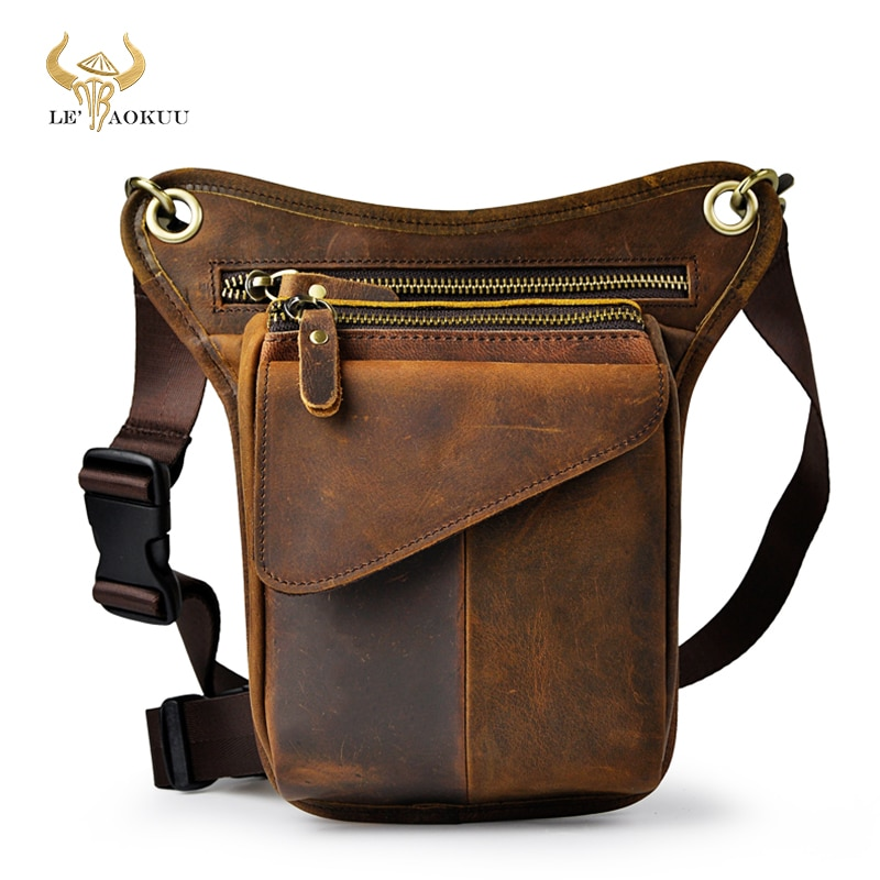 Original Leather men Brown Casual Fashion Small Shoulder Messenger Bag Designer Travel Belt Waist Pa
