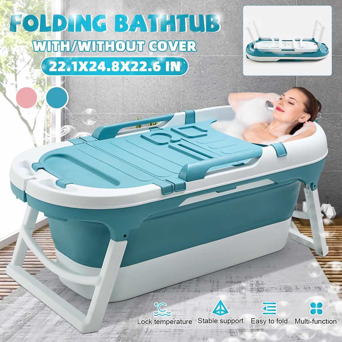 1.4m Large Folding Bath Bucket Adult Tub Baby Children Swimming Pool Barrel Adult Sit Thickened Home Sauna SPA Full Body Tub