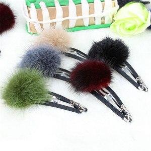 New Korean Headwear Jewelry Mink  Hair Clip Plush Hair Card Japanese And Korean Version Cute Hair Ball Edge Clip BB Clip Hair