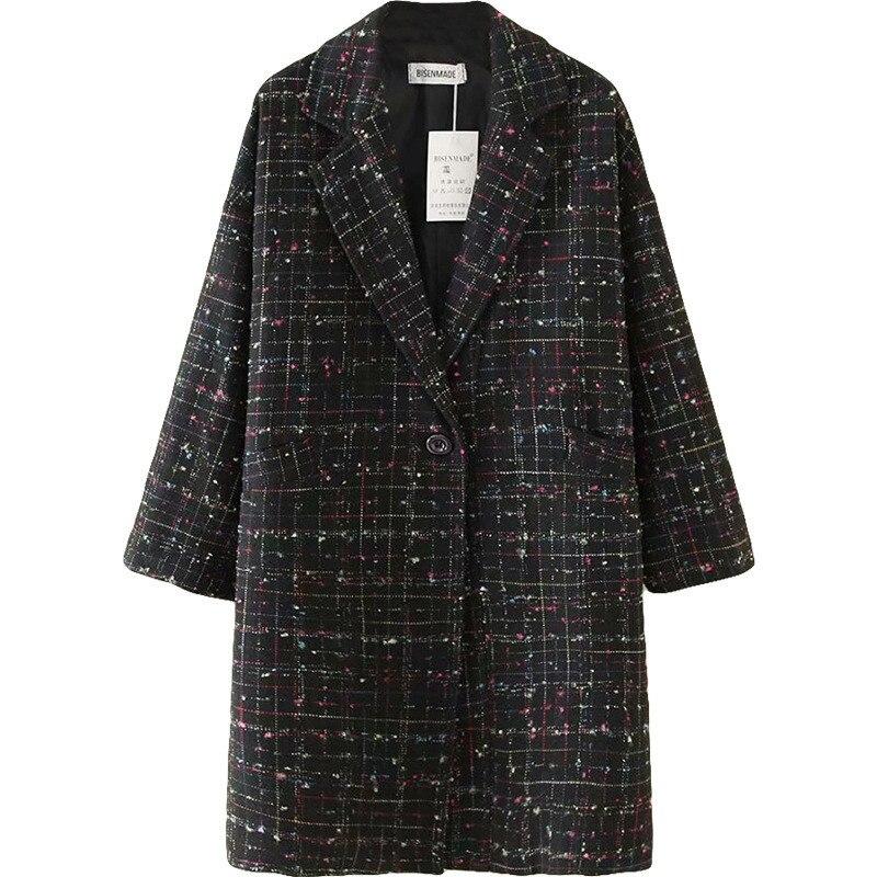 2019 moda oversize outono inverno lã blazer feminino xadrez outerwear feminino solto longo casaco plus size 5xl terno jaquetas g741