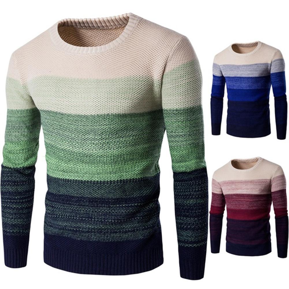 Winter Men O Neck Long Sleeve Color Block Patchwork Knitted Pullover Sweater Men's pattern patchwork round neck woolen sweater brief round collar color block knitted women pullover