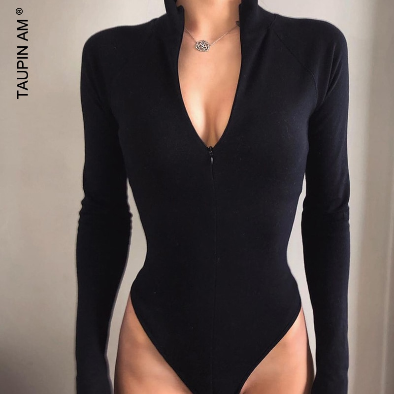 Taipin AM 2020 verano mujeres Sexy Bodys mujeres Bodys cremallera manga larga ajustado sólido calle alta ropa Casual