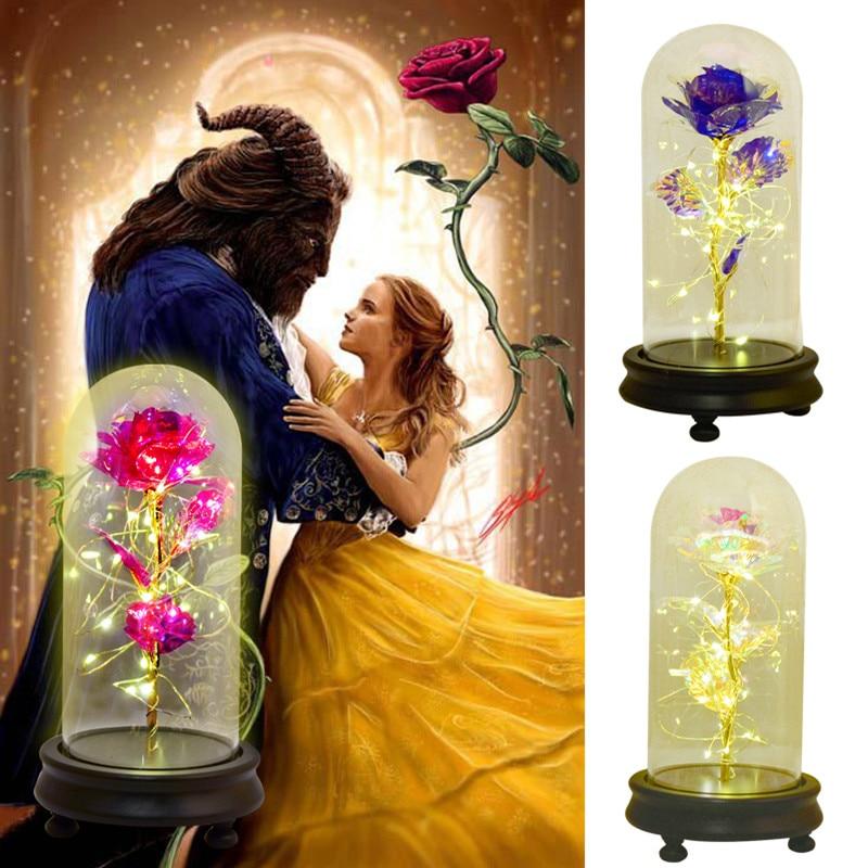 Fleurs en feuille daluminium or 24K 2020   Rose de la galaxie dans un dôme de verre, cadeaux pour la fête des mères et la livraison directe de décoration de mariage