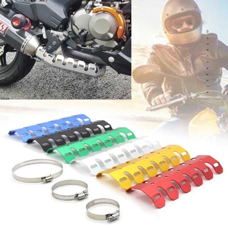 Motorcycle Exhaust Muffler Pipe Protector Heat Shield Cover Professional Refit A0NE недорого