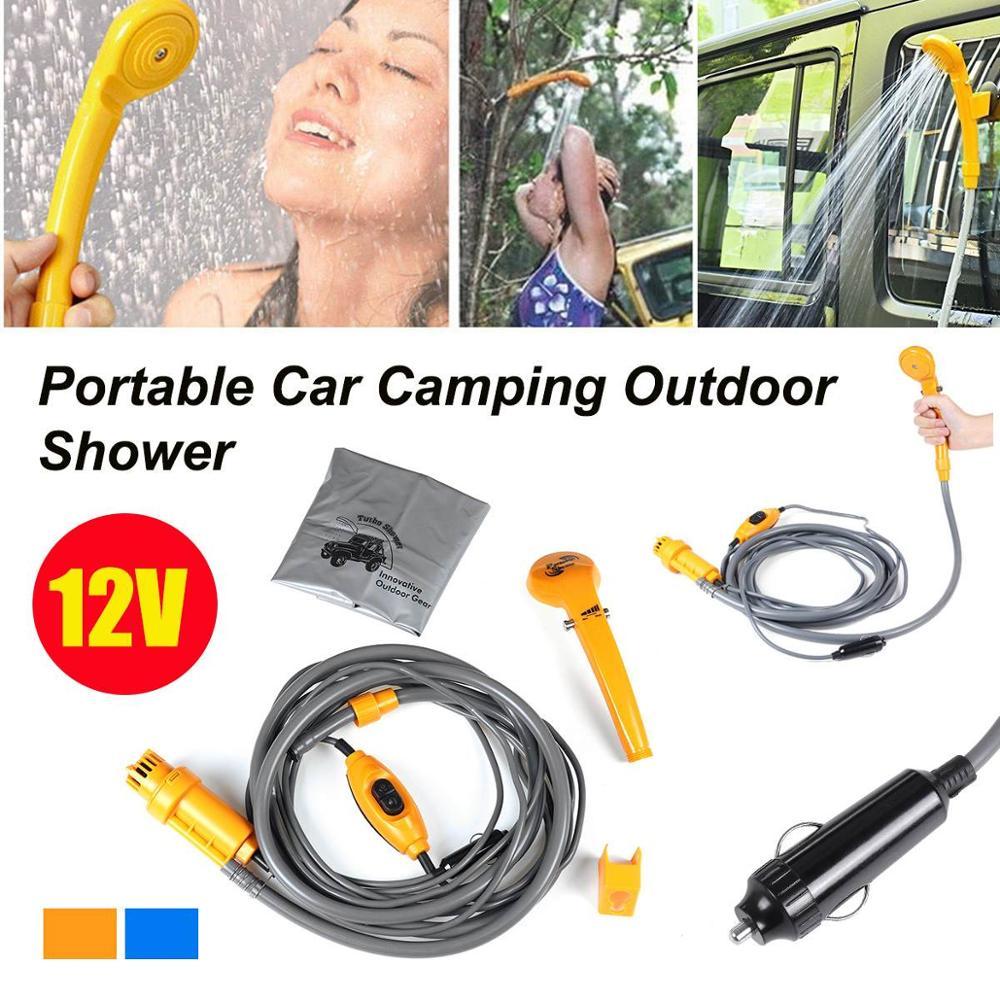 Set de ducha portátil de acampada 12V DC bomba eléctrica Camper caravana coche lavadora mascota perro hombre mujer senderismo al aire libre viaje Kit limpio